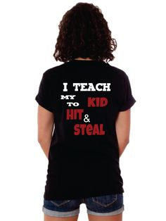 Love this t-shirt for baseball, softball, or t-ball! Hit and Steal TShirt by TShirtNerds on Etsy, $19.95