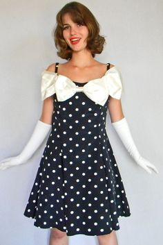 Prom Dress SALE Vintage Polka Dot Dress 60s Cocktail Off the Shoulder Black White Polka Dot Tulle Bow Dress. Mad Men Fashion