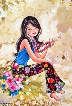 Vintage postcard retro by CuteEyeCatchers on Etsy, Vintage Girls, Vintage Children, Vintage 70s, Vintage Pictures, Vintage Images, Halloween Vintage, Illustration Girl, Girl Illustrations, Big Eyes