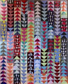 """One of my favorite quilt patterns--flying geese. Here, """"Flying Plaids"""" at Nifty Quilts."""