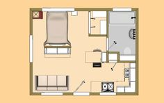 The 320 Sq Ft Version Of Our Floor Plan We Call Buckaroo XXL Studio Apartment