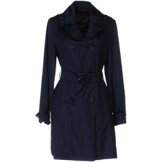 Mackintosh Overcoat (615 CHF) ❤ liked on Polyvore featuring outerwear, coats, dark blue, long sleeve coat, double-breasted trench coat, blue double breasted coat, silk coat and double breasted overcoat