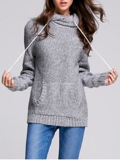 SHARE & Get it FREE | Hooded Long Sleeve Pocket Design Women's SweaterFor…