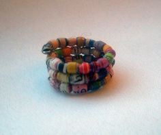 ♠∂ #Bright #Colorful Micro #Recycled Paper Bead Wrap Finger Ring -- Size 4.5... http://etsy.me/2maHjZq