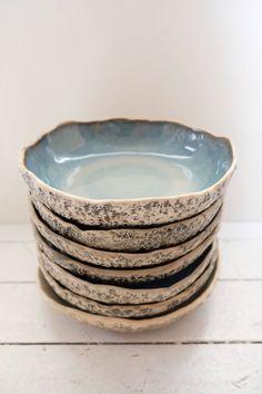 Set of 10 pasta bowls Handmade ceramic salad bowl set Large organic stoneware serving bowl Rustic kitchenware Ceramic Decor, Ceramic Mugs, Ceramic Bowls, Ceramic Pottery, Porcelain Ceramic, Slab Pottery, Stoneware Dinnerware, Stoneware Clay, Farmhouse Dinnerware