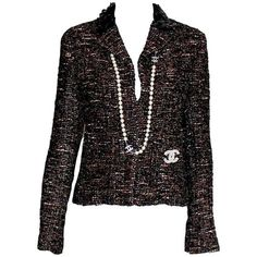 Preowned Amazing Chanel Metallic Tweed Sequin Trimmed Jacket Blazer ($3,499) ❤ liked on Polyvore featuring outerwear, jackets, blazers, black, metallic blazer, metallic tweed jacket, blazer jacket, wool tweed blazer and sequin jacket