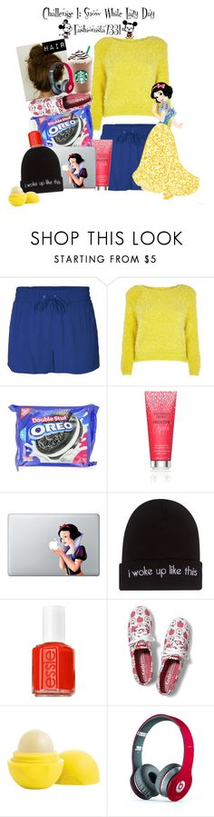 """Snow White Lazy Day"" by fashionista7331 ❤ liked on Polyvore featuring ONLY, River Island, Behance, Victoria's Secret, Wet Seal, Essie, Keds, Eos and Beats by Dr. Dre"