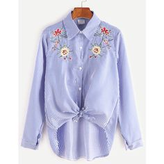 Blue Striped Flower Embroidered Knotted High Low Shirt ($17) ❤ liked on Polyvore featuring tops and blouses