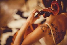 Love the tattoo, especially with the dress and cello (or viola?)  Snippet & Ink | Daily Wedding Inspirations