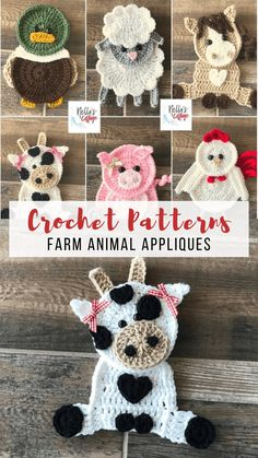 CROCHET FARM ANIMAL APPLIQUE PATTERNS Make one or make them all. There is a cow, chicken, duck, sheep, horse and pig in this pattern set from Nellas Cottage. Super cute and super fun they are. Work up really quick to be used on anything your heart desires Crochet Applique Patterns Free, Crochet Blanket Patterns, Baby Blanket Crochet, Crochet Motif, Crochet Baby, Crochet Blankets, Crochet Appliques, Crochet Embellishments, Animal Knitting Patterns