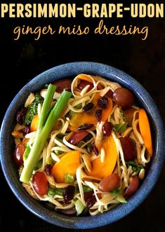 Persimmon-Grape Udon Salad with Ginger Miso Dressing -- A picturesque seasonal salad that's packed with fall fruits and a dressing that's out of this world!