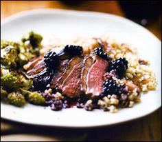 Crispy Duck Breast with Cracked Wheat, Caramelized Shallots, and Blackberry Gastrique