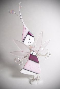 Fused Glass Art Doll Fairy ~ Lil' Darlings  Home Decor Sterling Silver Sculpture Ornament Free Standing Wire Wrap by CoalescentAlchemy on Etsy https://www.etsy.com/listing/253484785/fused-glass-art-doll-fairy-lil-darlings