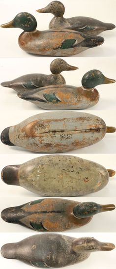 Pair of Mallards made by Mason Decoy Co., Detroit, MI, 1896-1924, Standard grade, solid wood, C-1910, drake has significant wear to body with bottom crack, hen late production C-1923, excellent original paint, with most of the neck filler is missing, small cracks and dents, glass eyes.