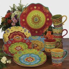 The vibrant colors of Certified International Tunisian Sunset dinnerware designed by Sue Zipkin livens up every meal all year long. Italian Kitchen Decor, Mexican Kitchen Decor, Mexican Kitchens, How To Use Dishwasher, Dinnerware Sets, Stoneware Dinnerware, Kitchen Colors, Kitchen Ideas, Mugs Set