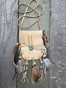 Handmade Light Deerskin Bag Pouch with Beads Fringe Medicine Bag Feathers | eBay