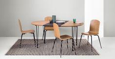 Ryland set van eettafel en 4 stoelen, eiken en zwart