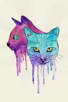 Cat watercolour drip