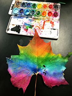 Paint leaves with watercolors, then use them to make prints. Fun art + nature project for kids!