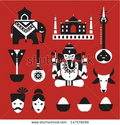 Vector set of indian travel icons - stock vector