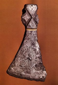 Mammen style axe head inlaid with silver wires (c.970) Denmark