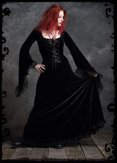 Angelique Fairy Gown in Long Black Velvet - Custom Elegant Gothic Clothing and Dark Romantic Couture. $209.00, via Etsy.