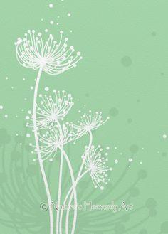 5 x 7 Mint Green Dandelion Art Print Beauty by NaturesHeavenlyArt