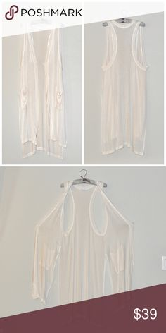 BCBG Long Boho Vest Perfect condition: BCBG Generation long Boho Vest in off white color. Features razorback steps, pockets, and slits to give this vest extra movement. Hits mid thigh. BCBGeneration Tops