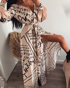 Women letter print sexy v-neck thigh slit maxi dress long sleeve elegant boho beach dress casual long dresses Maxi Dress With Slit, Maxi Wrap Dress, Boho Dress, Pink Dress, Lace Dress, Trend Fashion, Look Fashion, Cheap Fashion, Latest Fashion