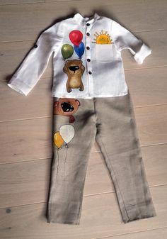 White Suit for boys vintage boy suit rustic linen от InGAartWork Baby Boy Fashion, Kids Fashion, Baby Boy Outfits, Kids Outfits, Fabric Paint Shirt, White Suits, Painted Clothes, Boys Suits, Little Girl Dresses