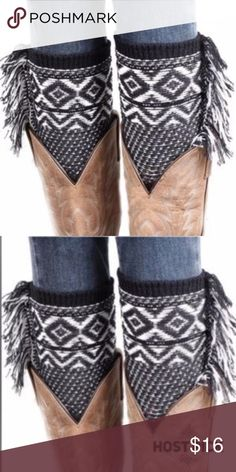 """Knitted Jacquard Boot Cuffs Leg Warmers Boot Cover Knitted Jacquard Boot Cuffs Leg Warmers Boot Cover. 100% Acrylic Material Knitting Wool. Soft Comfortable Material. Fringe Detail on the outer side of the cuffs makes for unique Cuffs that make a statement. 8 ¼"""" x 4"""". Accessories Hosiery & Socks"""