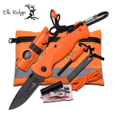 """Elk Ridge Survival Kit.  Pouch Features: All weather proof pouch Nylon liner inside Zipper closure Measures 6 3/4"""" x 4 1/4"""" Survival Kit Includes: Folding Knife 4 1/2"""" closed 3"""" stainless steel blade Carabeaner Orange plastic handle Plastic whistle with built in LED light, compass, and nylon necklace 5' of 550 paracord Ferro rod with striker Five matches with flint strip Plastic waterproof container with one bandaid, fishing line, two fishing weights, and one fish hook"""