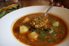 Avvarekalu Saaru - a tradional Karnataka cuisine curry made with split Lima bean lentil, potatoes and coconut.