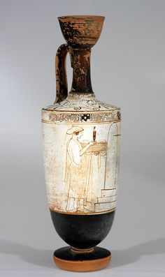 RISD Museum: Attributed to Inscription painter, Greek; Oil flask (lekythos) depicting a visit to the grave, BCE. Ancient Greek Art, Ancient Greece, Pottery Painting, Pottery Art, Greek Pottery, Greek Culture, Painted Vases, Roman Art, Old Art