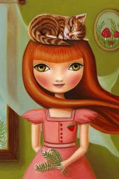 art poster big eye Girl and cat art print redhead pink and green LARGE print 13…