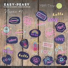 Scrapbook Supplies, Journal Cards, Easy Peasy, Photo Book, Digital Scrapbooking, Cardmaking, Artsy, Lily, Neon Signs