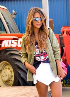White skort, sporty tee, army green jacket & reflector Oakleys #adore