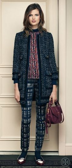 Tory Burch Fall 2012 | Annabelle Sparkle Fringe Tweed Coat