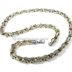 Stainless Steel Gold Silver Box Byzantine Chain Men Necklace 7mm