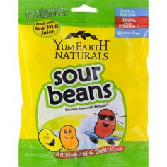 Yummy Earth Naturals Sour Beans - Case of 12 - 2.5 oz - USDA OrganicAll Natural and DeliciousMade with Real Fruit JuiceFat-FreeNut-Free100% Daily Vitamin CGluten-FreeThe Jelly Bean with AttitudeNo High Fructose Corn SyrupYummyEarth was born out of our commitment to feed our children Jonah, Rose, Leo, Moises, Eli and Lilah, a diet rich in delicious healthful foods that are free of yucky chemicals, high fructose corn syrup and dyes.YummyEarth tastes much better than mass produced chemical…