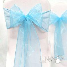 Tiffany blue organza banquet chair sash