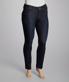 Take a look at this Navy Skinny Jeans- Plus by Democracy on #zulily today!