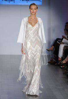 Beaded Chevron Sheath Wedding Dress | Hayley Paige Wedding Dresses Spring 2015 | Kurt Wilberding | blog.theknot.com
