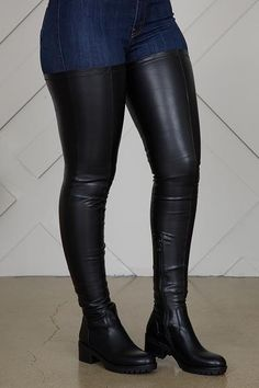 Show off your legs in this stretch faux suede boot. Features inner zipper closure and a soft suede like material. Black Thigh High Boots, Black Boots, Biker Boots, Riding Boots, Thigh Length Boots, Women's Over The Knee Boots, How To Stretch Boots, Long Boots, Low Heels