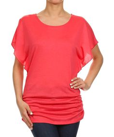 Look at this One Fashion Coral Cape-Sleeve Top on #zulily today!