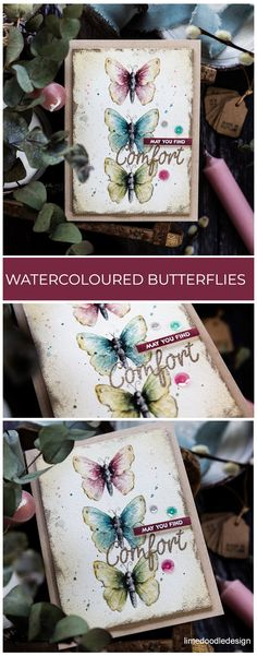 Watercoloured Butterflies + SSS New Release- Softly watercoloured butterflies, handmade card by Debby Hughes using supplies from Simon Says Stamp. Find out more here: limedoodledesign…. Butterfly Watercolor, Watercolor Cards, Watercolour, Tim Holtz Distress Ink, Doodle Designs, Butterfly Cards, Butterfly Colors, Beautiful Handmade Cards, Simon Says Stamp