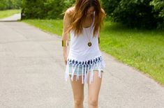 DIY Fringe Net Tank DIY Clothes for Teens | Simple Summer Cutouts Tutorial by DIY Ready at http://diyready.com/diy-clothes-for-teens/