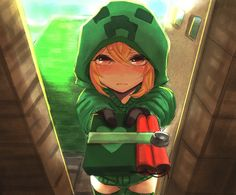 Minecraft Creeper Girl Cupa with a Gift