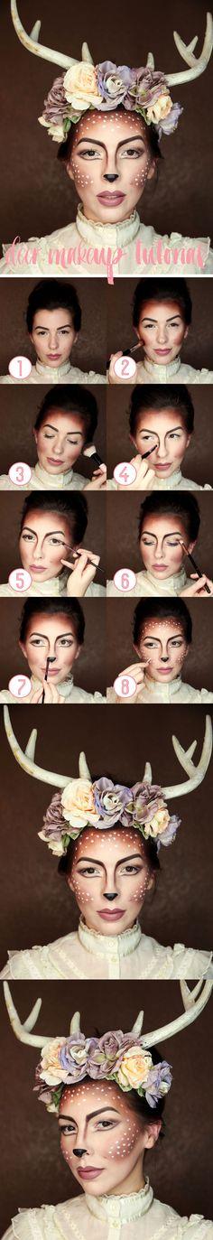 easy deer makeup tutorial for halloween, fawn makeup