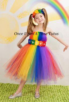 Bright Rainbow Tutu Dress  Child Girls Size  by OnceUponATimeTuTus